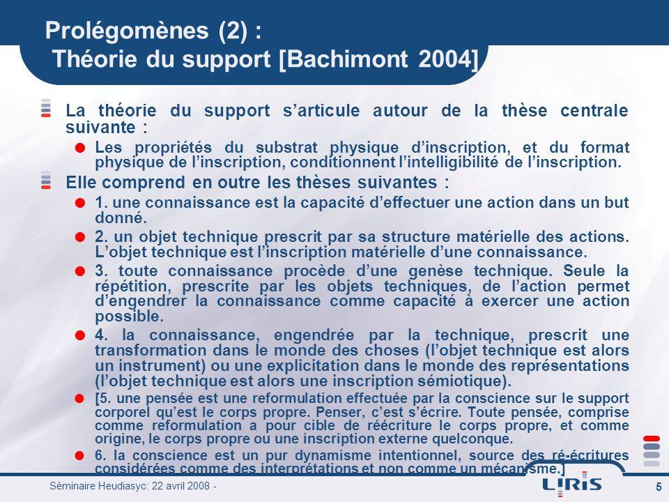 Prolégomènes (2) : Théorie du support [Bachimont 2004]